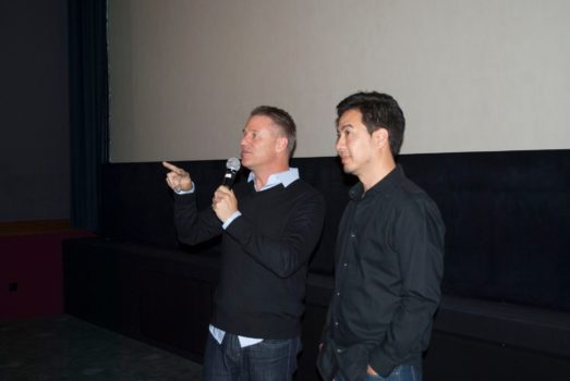 "Graham Streeter and Alex Lebosq presenting the film ""Imperfect Sky"""